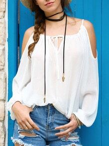 White Cold Shoulder Self-tie Neck Blouse