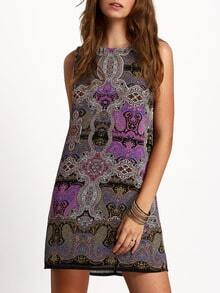 Multicolor Crew Neck Tribal Print Shift Dress