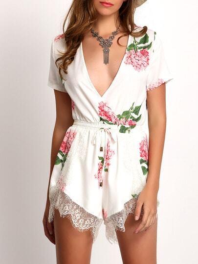 Plunge V-neck Floral Print Crochet Lace Jumpsuit