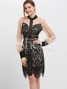 Black High Neck Sheer Eyelet Lace Dress