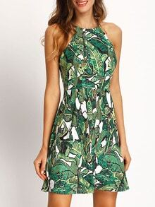 Green Halter Floral Print Backless Dress