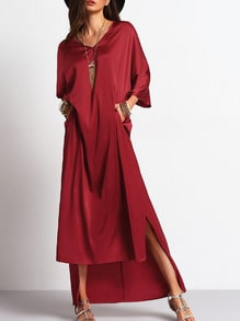 Red V-neck Side Pockets Loose Asymmetric Dress