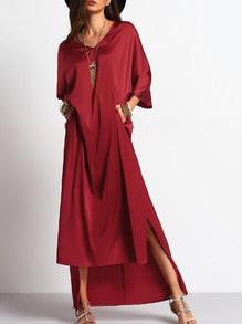 Side Pockets Loose Asymmetric Dress