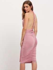 Light Purple V-neck Racer Back Sheath Dress