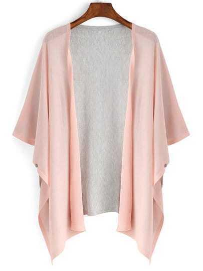 Contrast Bat Sleeve Pink Cardigan
