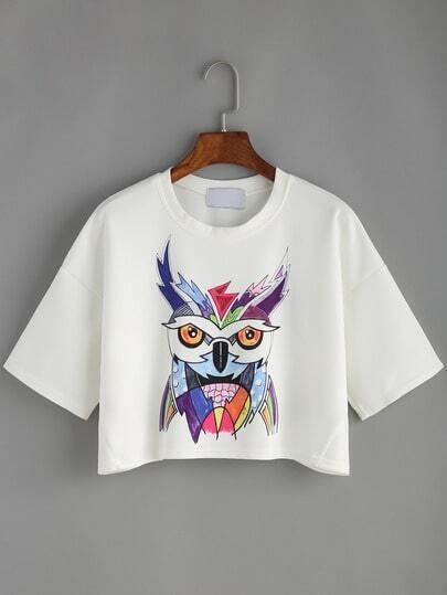 White Owl Print Crop T-shirt