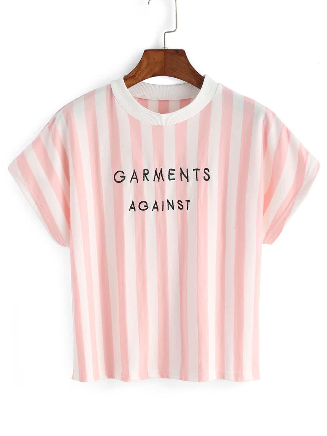 Vertical Stripe Letter Embroidery T-shirt -SheIn(Sheinside)