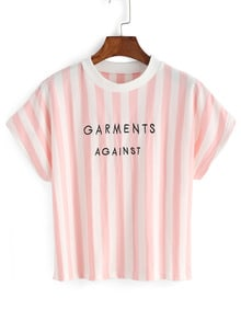 Vertical Stripe Letter Embroidery T-shirt