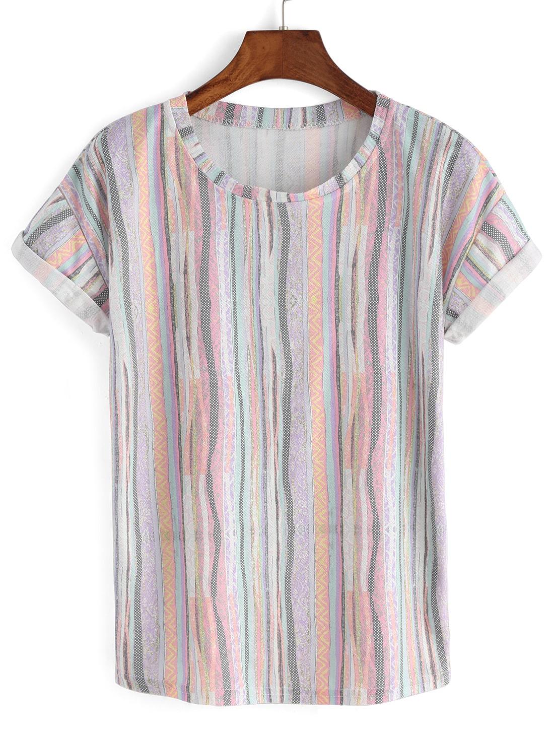 Multicolor Vertical Stripe Cuffed T-shirt -SheIn(Sheinside)
