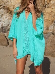 V Neck Crochet Hollow Loose Dress