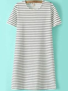 Short Sleeve Striped Straight Dress