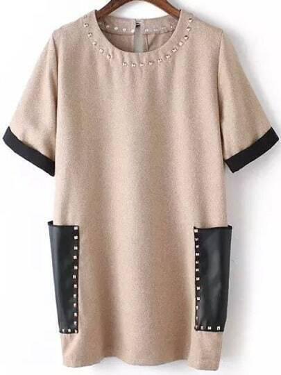 With Rivet Patch Pocket Khaki Dress