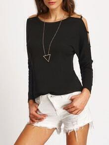 Black Long Sleeve Hollow Out T-Shirt