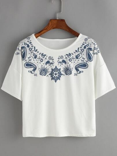 Dropped Shoulder Seam Paisley Print T-Shirt