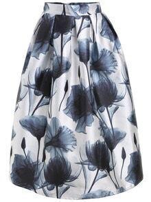 Lotus Print Skirt With Zipper