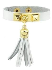 White Pu Leather Bracelets