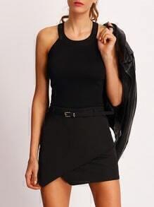 Black Asymmetrical Wrap Dress With Belt