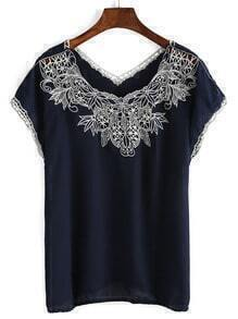 V Neck Embroidered Chiffon Shirt
