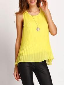 Yellow Keyhole Pleated Tank Top