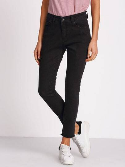 Black Frayed Denim Pant