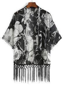 Flower Print Fringe Chiffon Kimono