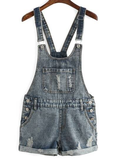 Ripped Denim Cuffed Romper