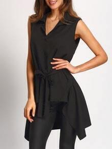 Black Ruffle Hem Vest Coat