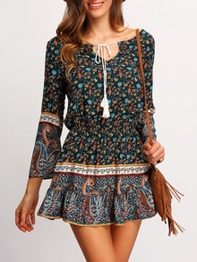 Bell Sleeve Paisley Print Lace Up Dress