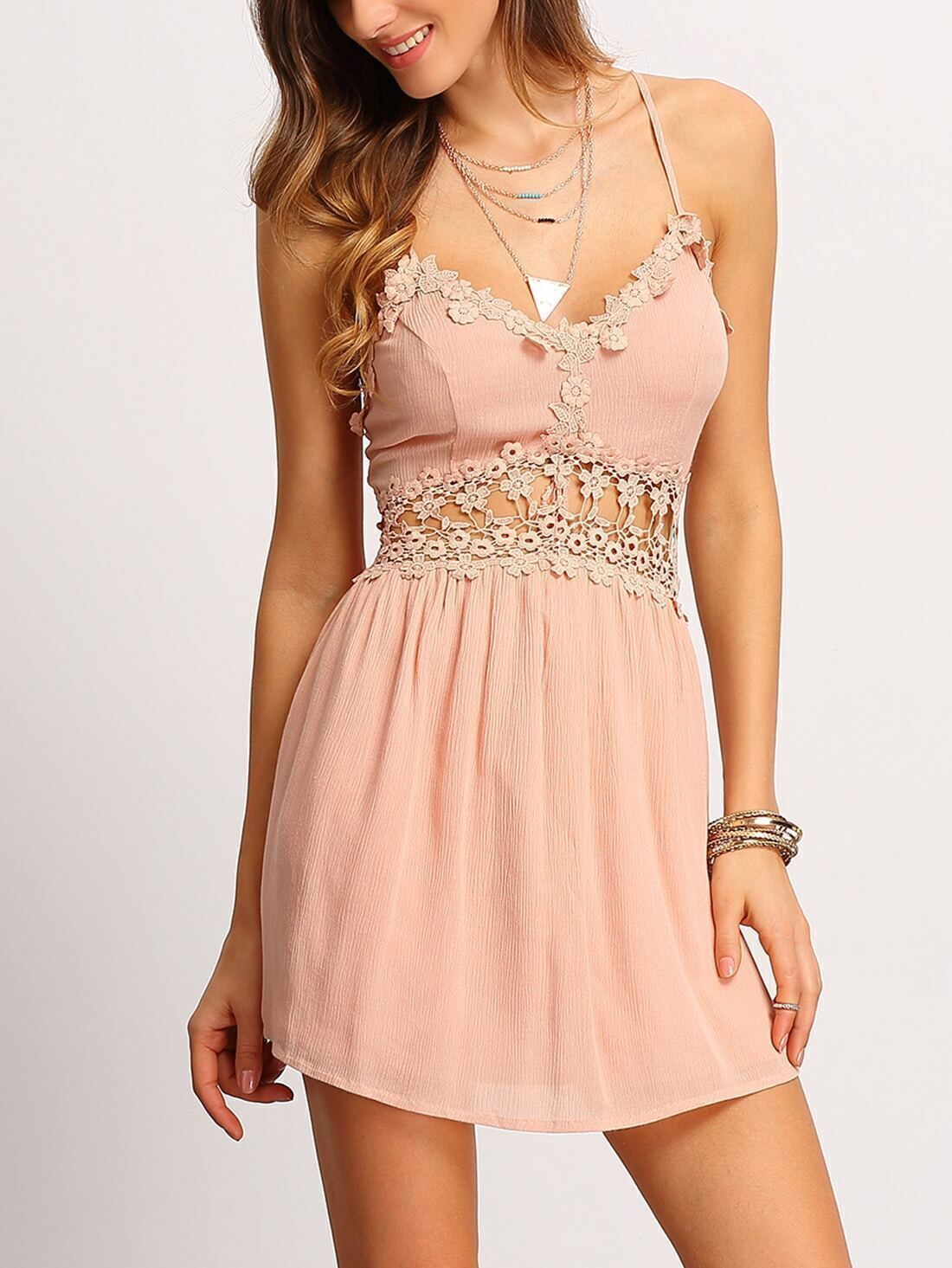 Crisscross-Back Hollow Out Lace Up Dress
