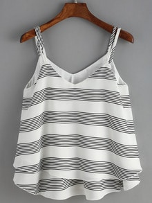 Spaghetti Strap Striped Chiffon Cami Top