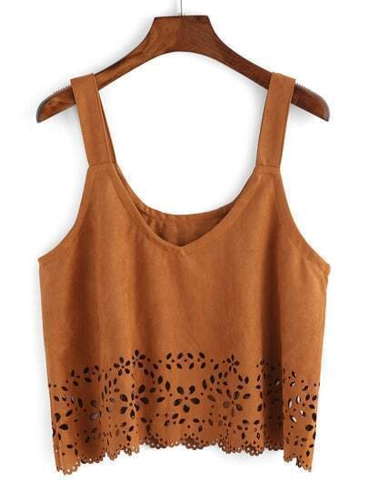 Cami Top in pelle suede