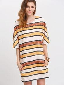 Multicolor Stripe Short Sleeve Shift Dress