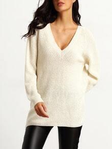 V Neck Loose Sweater Dress