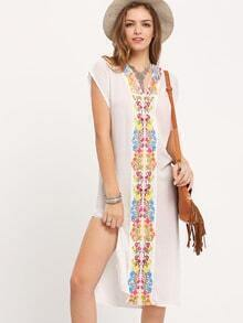 White V Neck Embroidered Split Smock Dress