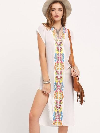 White V Neck Embroidered Split Smock Dress