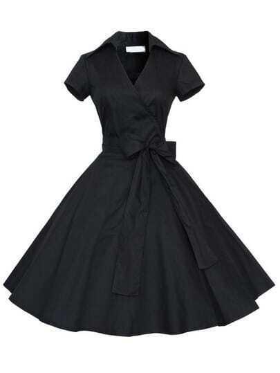 Black Short Sleeve Bow Shirtwaist Dress