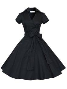 Short Sleeve Bow Shirtwaist Dress