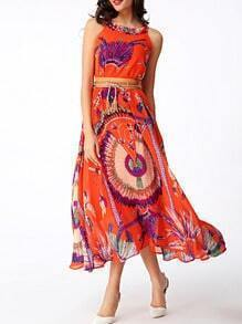 Orange Florals Chiffon Dress With Belt