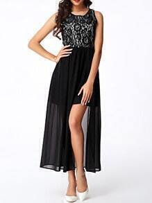 Black Lace Insert Split Chiffon Dress