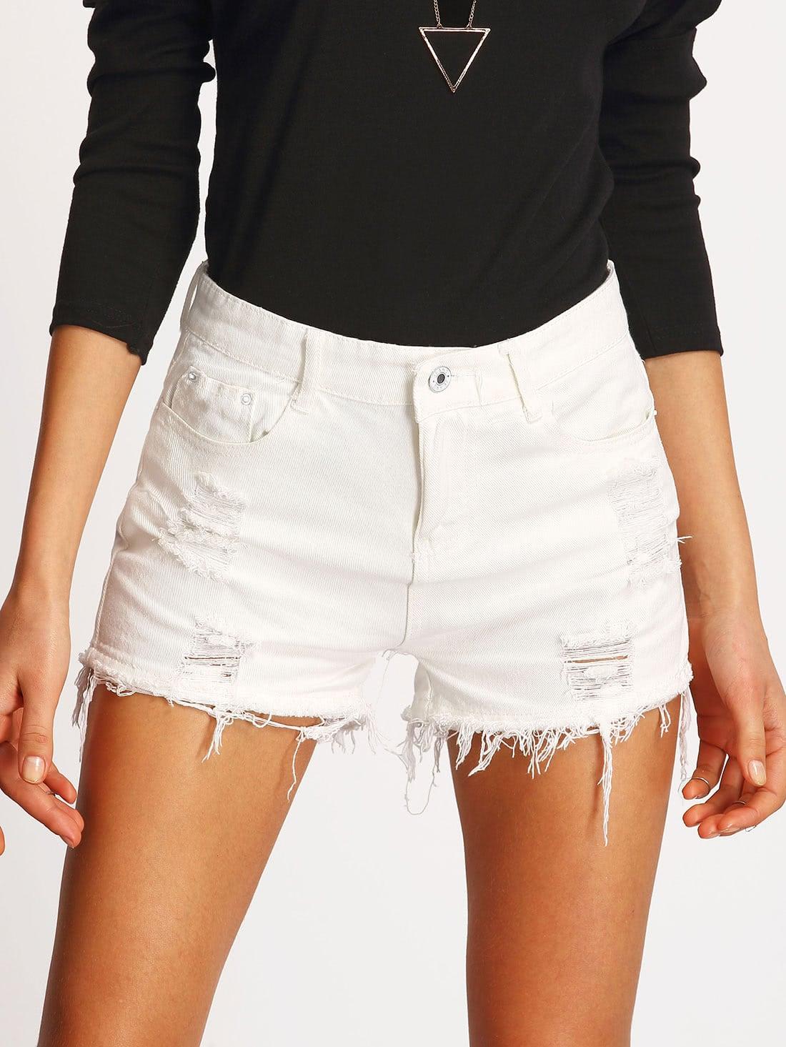 Купить со скидкой Ripped Detail Raw Hem Denim Shorts