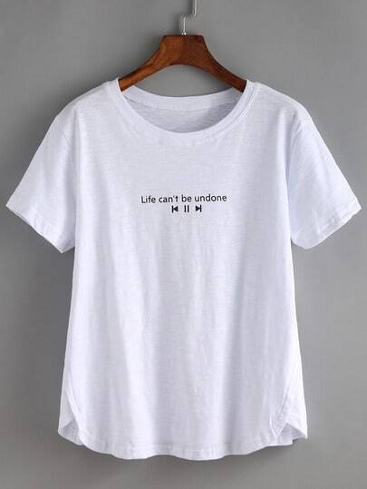 Slogan Print Slit Side T-shirt
