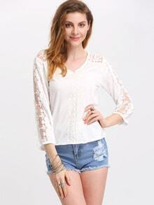 Lace Panel Cutout Back Lantern Sleeve Blouse