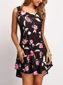 Dip Hem Florals Ruffle Hem Dress
