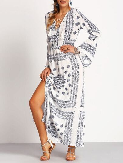 V Neck Bell Sleeve Print Lace Up Split Dress