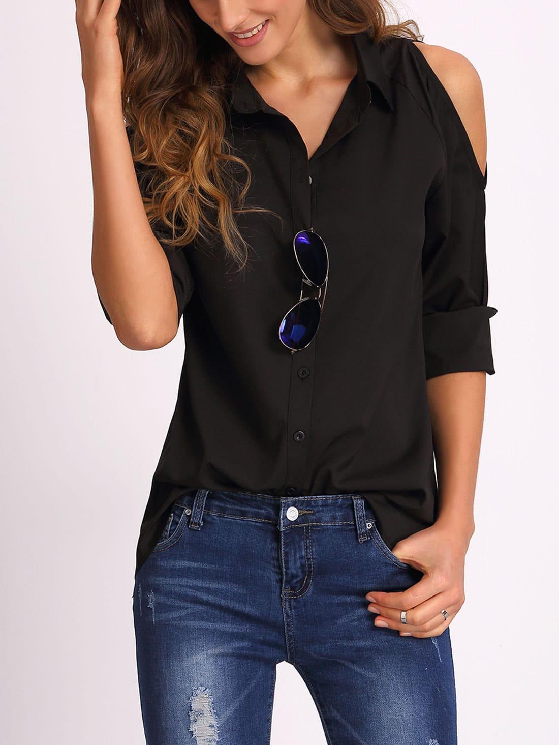 Купить Open Shoulder Long Sleeve Blouse