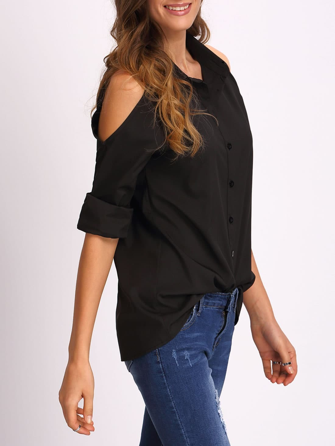 Open shoulder long sleeve blouse shein sheinside for Long sleeve open shirt