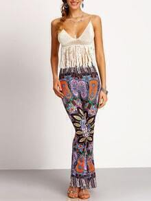 Black Florals Bell-bottomed Pant
