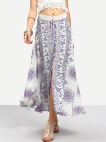 Tribal Print Split Skirt