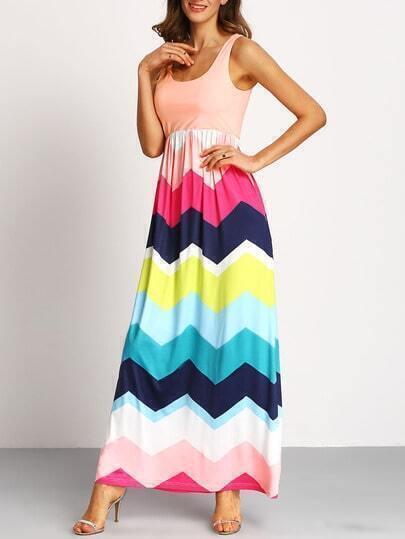 Multicolor Sleeveless Zig-Zag Print Maxi Dress