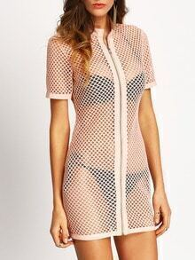 Nude Zipper Down Net Overall Dress